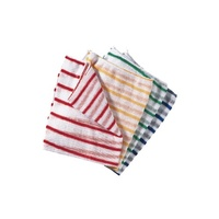 Colour Coded Striped Dish Cloths - Red (Pack x10)