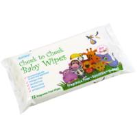 Cheek to Cheek Baby Wipes -Fragrance Free - Moisturising, Leaves Skin Soft, Allergen Free (Case 16 x 72 Wipes)