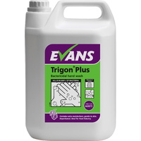 EVANS - TRIGON PLUS - Anti Bacterial, Unperfumed Hand Wash Soap (5L) NEW Formula EN1499, EN13727 & EN1276
