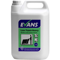 EVANS - LOW FOAM HEAVY - Alkaline Multi Surface Scrubber Dryer Detergent / Catering Grade (5L)