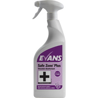 EVANS - SAFE ZONE PLUS RTU - Virucidal Disinfectant Kills Norovirus, Influenza, MRSA & C. diff (EN14476 & EN1276) (750ml)