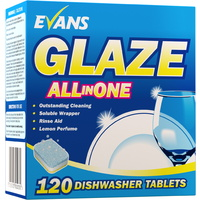 EVANS - GLAZE ALL IN ONE - Machine Dishwasher Tablets (x120 Tablets)