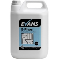 EVANS - E-PHOS - Perfumed Cleaner Sanitiser & Descaler Safe on Stainless Steel EN1276 (5L)