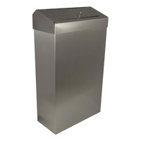 30L Wall Mounted/Free Standing Waste Bin with Discretion Lid (Brushed Stainless Steel)