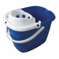 Standard Plastic Mop Bucket 15L with White Wringer BLUE