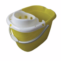 Standard Plastic Mop Bucket 15L with White Wringer YELLOW