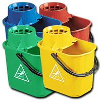 Heavy Duty 14L Mop Bucket with Wringer (Inc Wet Floor Logo) YELLOW