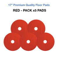 17 Inch Floor Pads - Red Case x5 Light Clean/Buffing Pads