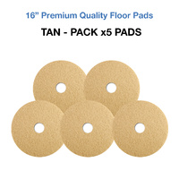 16 Inch Floor Pads - Tan Case x5 Light Clean/Buffing Pads