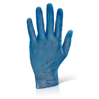 Blue Vinyl Gloves Powder Free (Blue) - LARGE Box x100