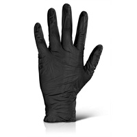Nitrile Glove Powder Free (Black)  - Medium x 100 off
