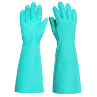Heavy Duty 45cm Long Sleeve Nitrile Gloves - Chemical Resistant, Food Safe, Grip Finish - LARGE (Green) (x1 Pair)