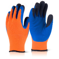 B-Flex Heavyweight Fleece Lined Thermo Gloves Orange & Blue EN388