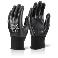 Click Nitrile Fully Coated Manual Handling Grip Gloves Black EN388