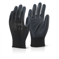 Click PU Coated Manual Handling Grip Gloves Black