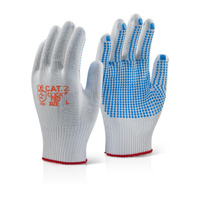 Click Nylon Fibre PVC Dotted Grip Gloves White & Blue