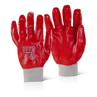 Click PVC Fully Coated Elasticated Cuff Red Gloves