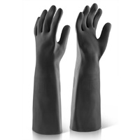 "18"" Industrial Medium Weight Latex Chemical Gloves Black EN388, EN374-3"