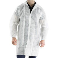 Click Disposable Polypropylene White Visitor Coat Velcro
