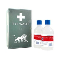 Double Eye Wash Wall Station (2 x 500ml) Inc Eye Pad Dressings & Detachable Case