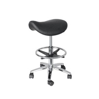 Gas Lift Saddle Stool with Foot Bar – Black