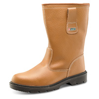 Steel Toe Cap Rigger Boots Acrylic Fur Lined with Midsole Protection Tan