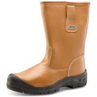 Premium Steel Toe Cap Rigger Boots Acrylic Fur Lined with Midsole Protection Tan
