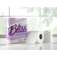 BLISS - Pink 3 Ply luxury Toilet Rolls - 3ply White (x40 Rolls)