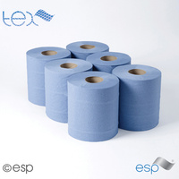 TEX400B - Embossed Centre Feed Roll - 2ply Blue 100m (Case x6)