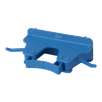 Vikan Wall Bracket Single - Holds x1 Handle x2 Hooks 160mm (Blue)