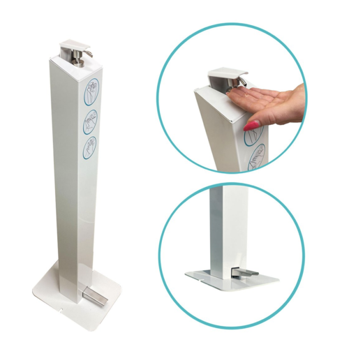 Hand Sanitiser Station. Foot pedal operated (Hands-free) - White