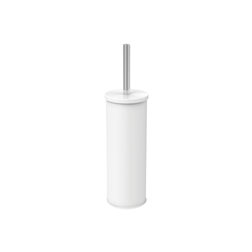 Fully enclosed toilet brush and holder - White