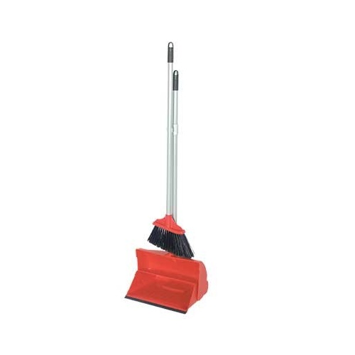 Long Handle Dust Pan & Brush Set RED
